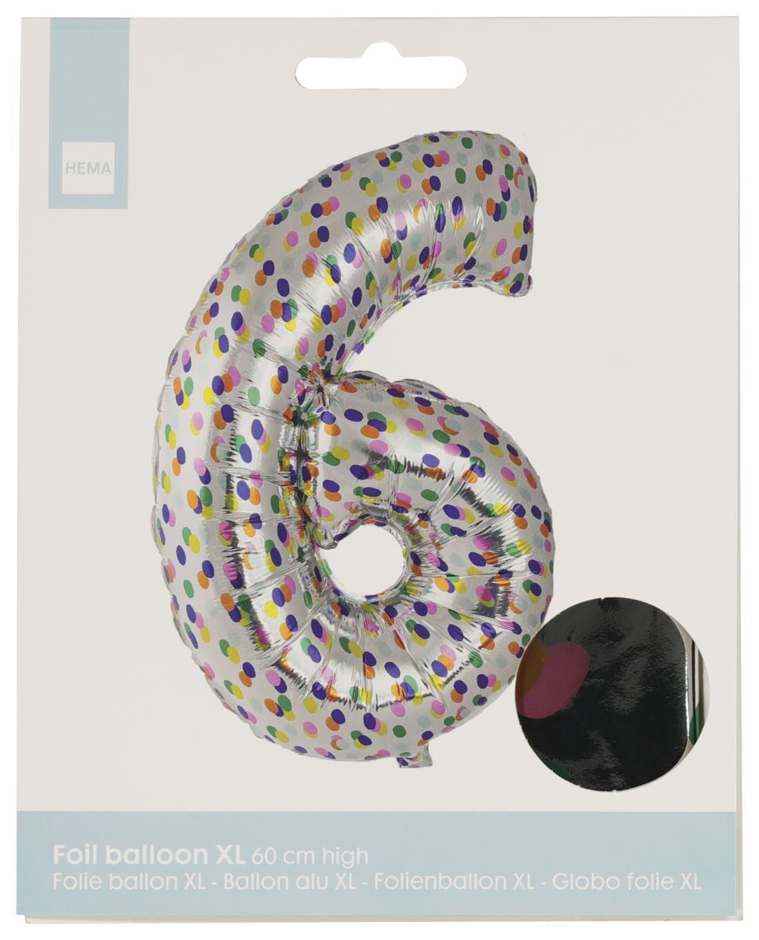 HEMA Folieballon XL Cijfer 6 - Confetti (multi)