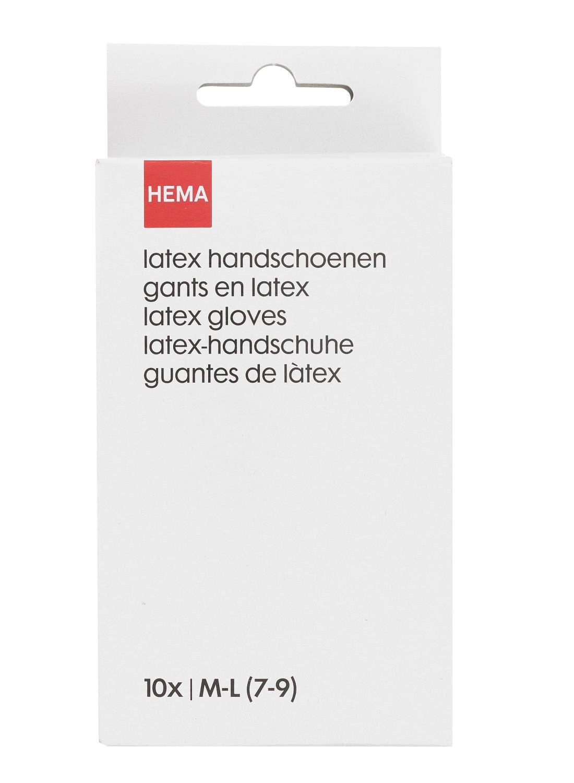 Afbeelding van HEMA 10-pak Latex Handschoenen M-L (7-9) (blanc)