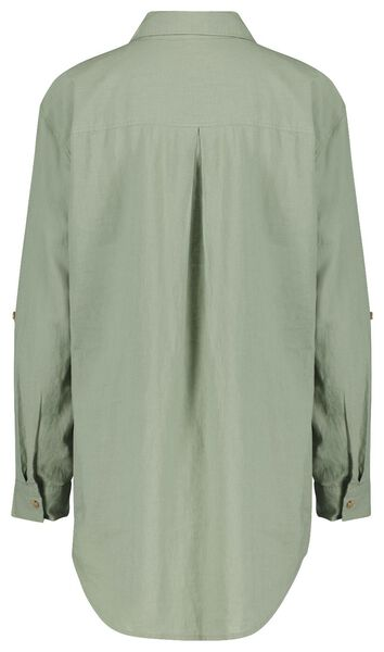 dames blouse met linnen lichtgroen - 1000024277 - HEMA