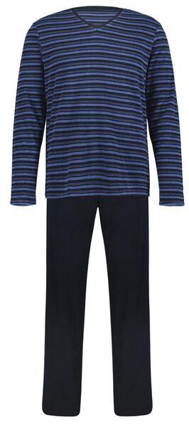 Herenpyjama badstof strepen donkerblauw