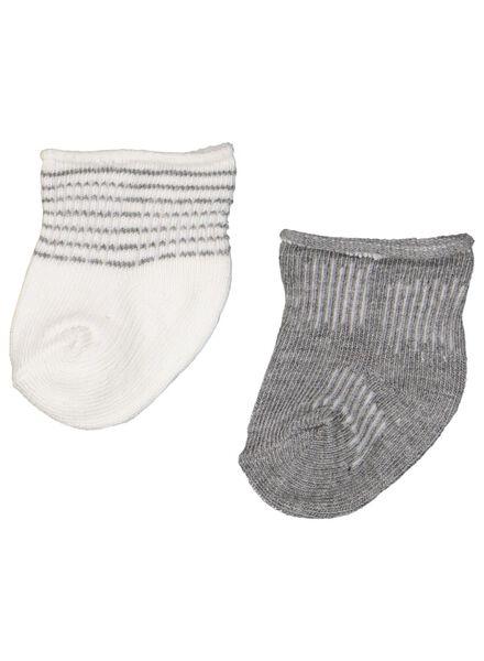 2-pak newborn babysokken met bamboe grijsmelange 0-3 m - 4763431 - HEMA
