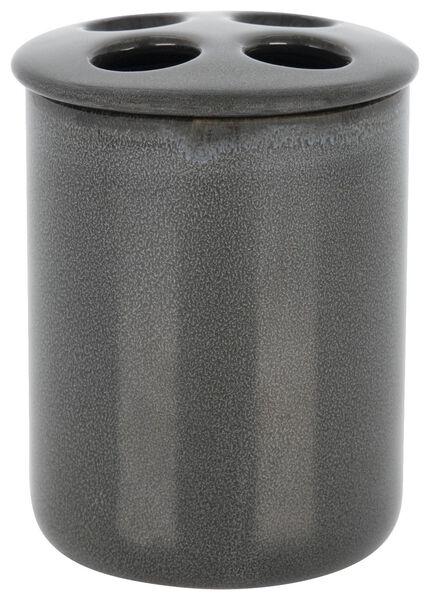 tandenborstelhouder - Ø8.5x10cm - reactief keramiek - antraciet - 80310008 - HEMA