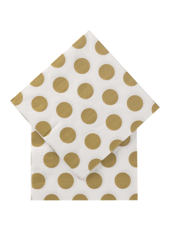 HEMA Servetten – 33 X 33 – Papier – Goud Stippen – 20 Stuks (goud)