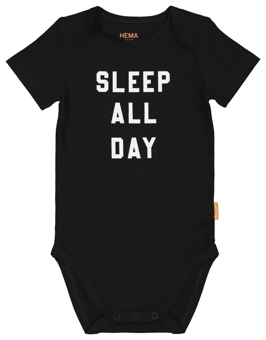 HEMA Romper Katoen Stretch Sleep All Day Zwart (zwart)