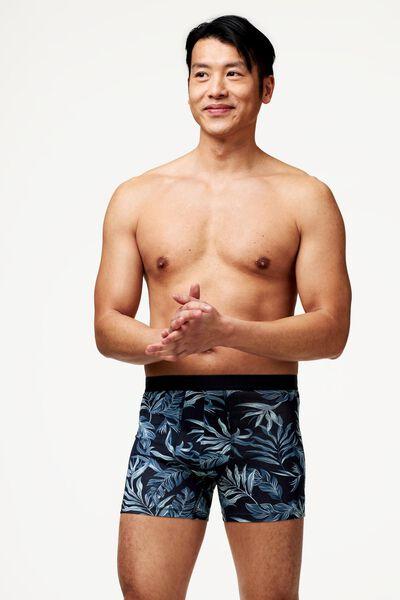 herenboxers lang - katoen/stretch 3 stuks donkerblauw donkerblauw - 1000022828 - HEMA