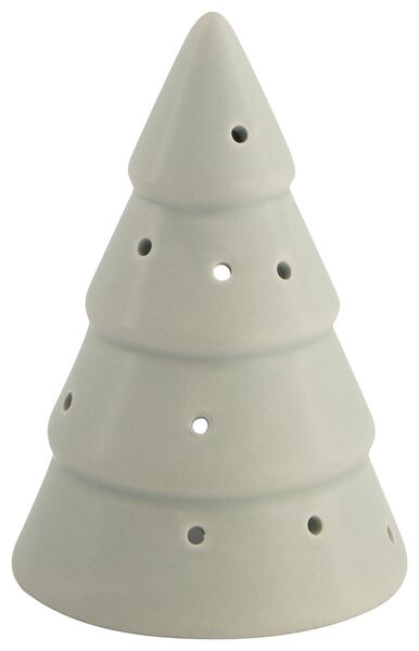 theelichthouder aardewerk kerstboom 13 cm groen - 25103275 - HEMA