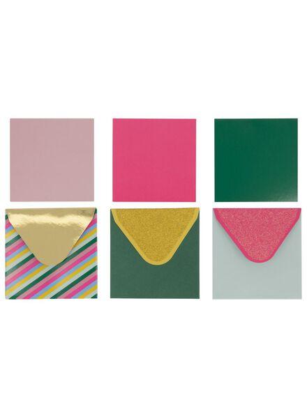mini kaarten met envelop - 3 x 3 cm - 9 stuks - 14700248 - HEMA