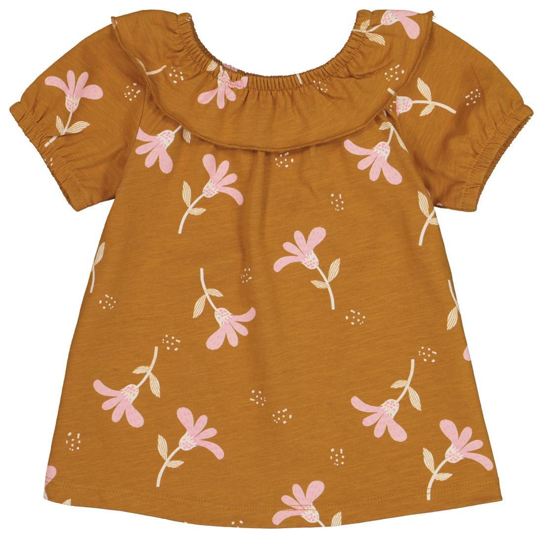 HEMA Baby T-shirt Met Volantkraag Bruin (bruin)
