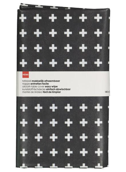 tafelzeil - 140 x 240 - polyester - grijs/wit plusjes - 5300057 - HEMA