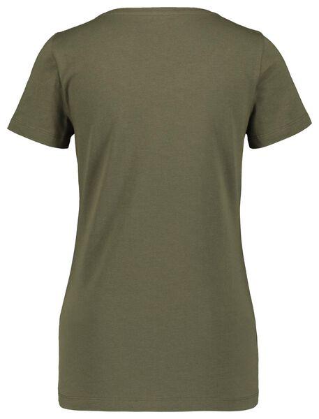 dames t-shirt olijf L - 36347613 - HEMA