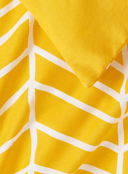 dekbedovertrek - zacht katoen - 200 x 200 cm - geel print geel 200 x 200 - 5750005 - HEMA