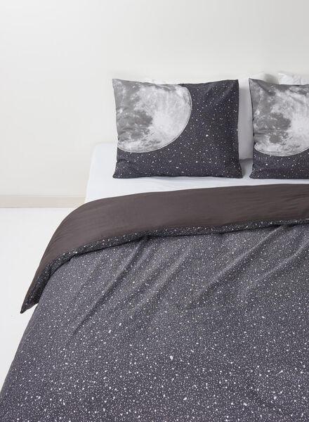 dekbedovertrek - zacht katoen - 200 x 200 cm - grijs sterren donkergrijs 200 x 200 - 5700060 - HEMA