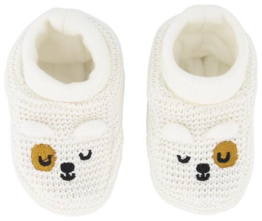 newborn slofjes gebreid wit wit - 1000020660 - HEMA