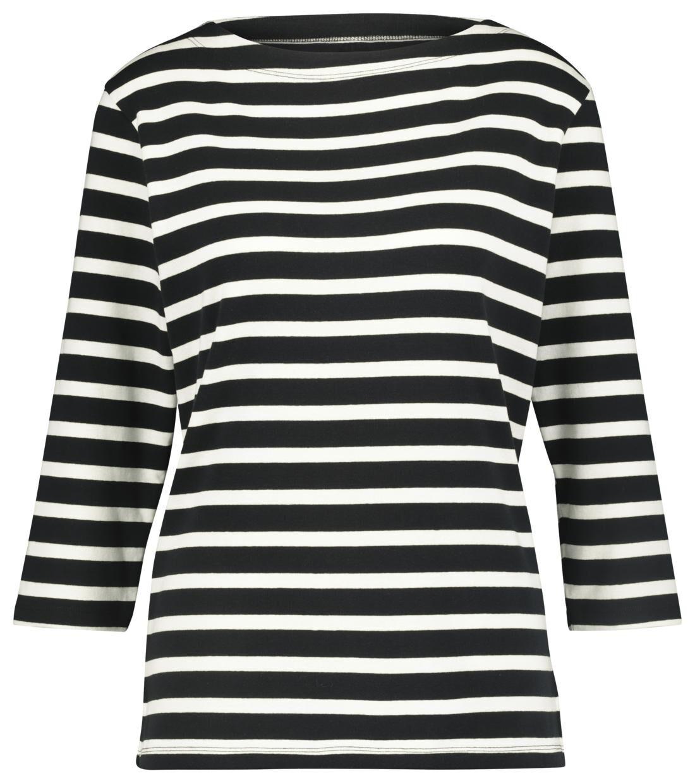 HEMA Dames T-shirt Boothals Zwart/wit (zwart/wit)