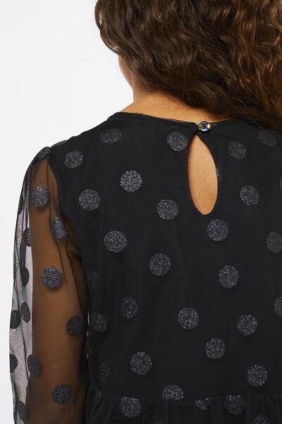 kinderjurk mesh stippen zwart zwart - 1000021999 - HEMA