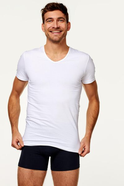 2-pak heren t-shirt naadloos wit wit - 1000009976 - HEMA
