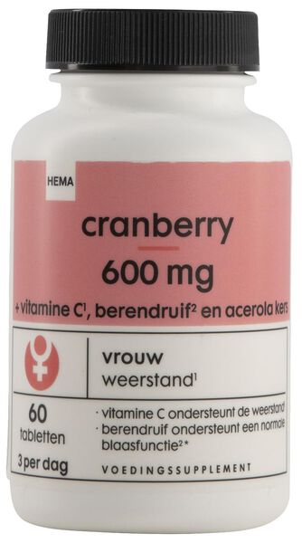 cranberry 600mg - 60 stuks - 11402202 - HEMA