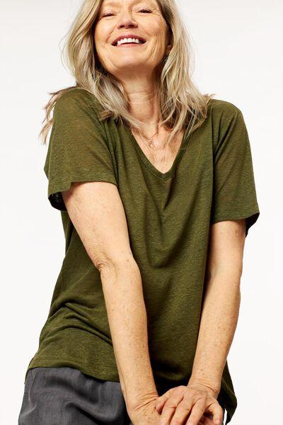 dames t-shirt linnen olijf - 1000024305 - HEMA