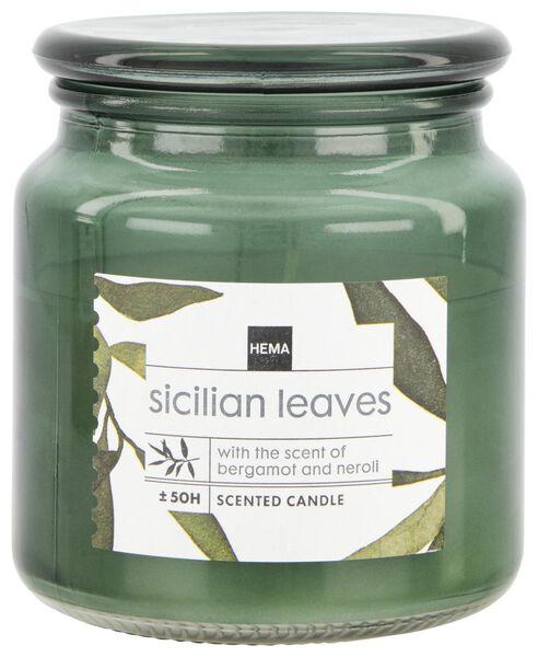 geurkaars in glazen pot Ø10x11 sicilian leaves - 13502457 - HEMA