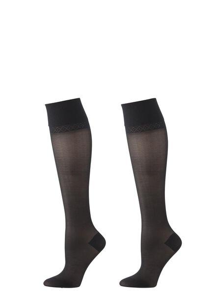 2-pak licht ondersteunende kniekousen zwart zwart - 1000000877 - HEMA