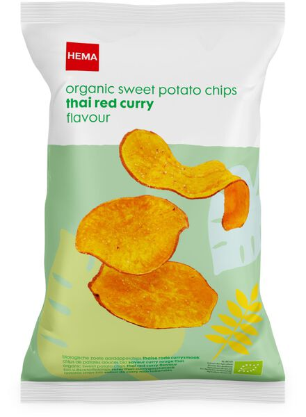 biologische zoete aardappel chips rode curry - 10620016 - HEMA