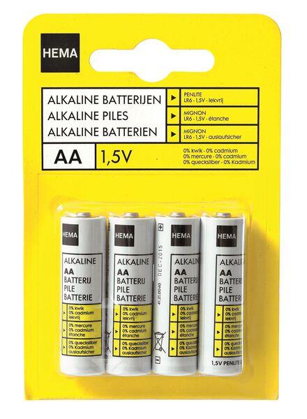 4-pak AA basis batterij alkaline - 41210040 - HEMA