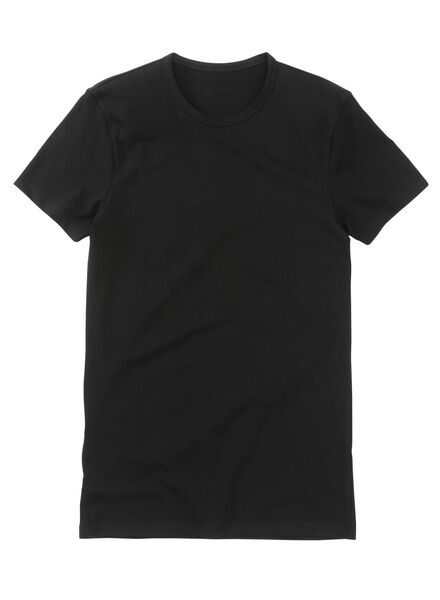 2-pak heren t-shirts regular-fit extra lang zwart zwart - 1000005786 - HEMA
