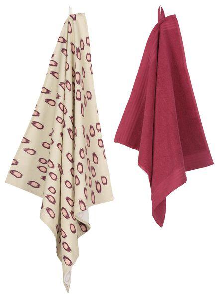 theedoek - 65 x 65 - katoen - zand/roze luipaard - 5400140 - HEMA