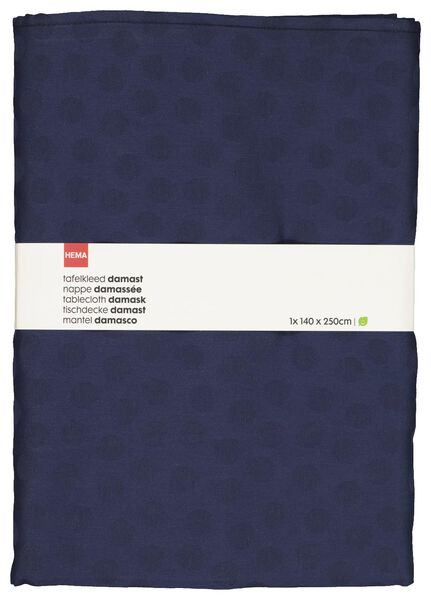 HEMA Tafelkleed 140x250 Damast Katoen - Blauw Stip (blauw)