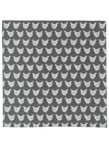 theedoek - 65 x 65 - katoen - grijs kippen - 5400113 - HEMA