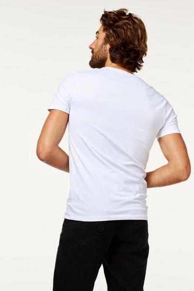 heren t-shirt slim fit wit XL - 34276826 - HEMA