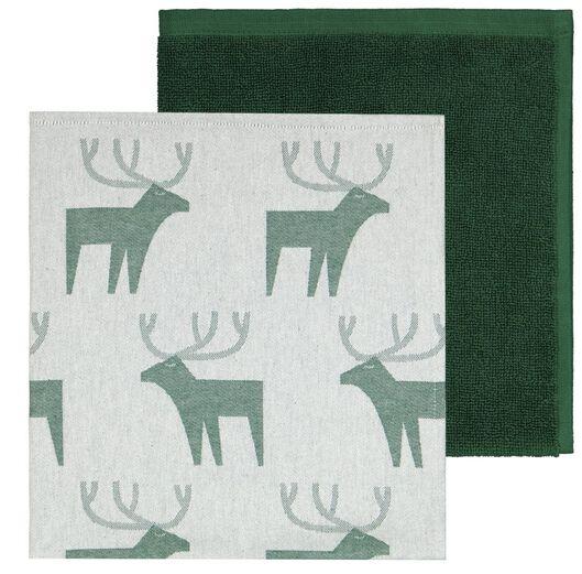 HEMA Thee-en Keukendoek Rendier Groen (groen)