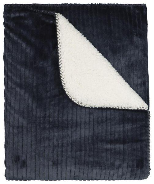 plaid rib 130x150 - sherpa - blauw - 7322031 - HEMA