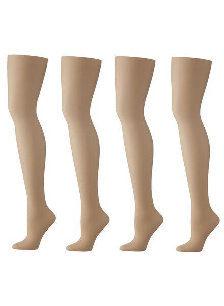 4-pak panty's glans transparant 20 denier naturel 36/38 - 4012231 - HEMA