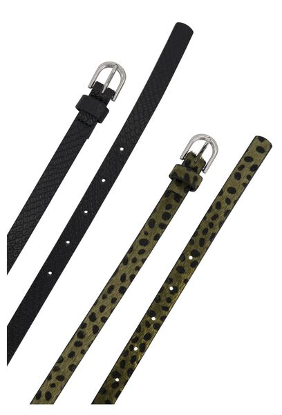 damesriemen croco/luipaard - 2 stuks groen 95 - 16330022 - HEMA
