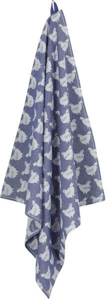 theedoek - 65 x 65 - katoen - blauw kippen - 5400115 - HEMA