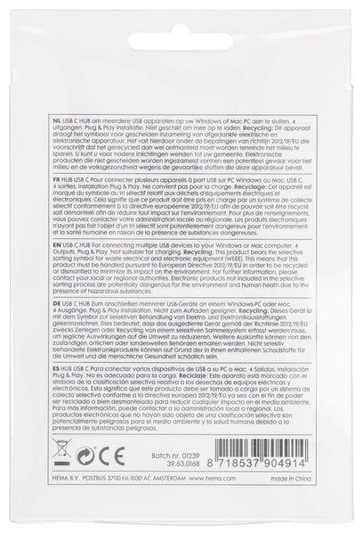 USB C hub grijs - 39630168 - HEMA