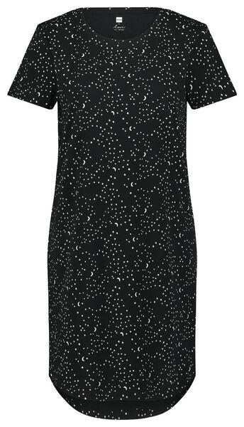 damesnachthemd sterren zwart zwart - 1000023351 - HEMA