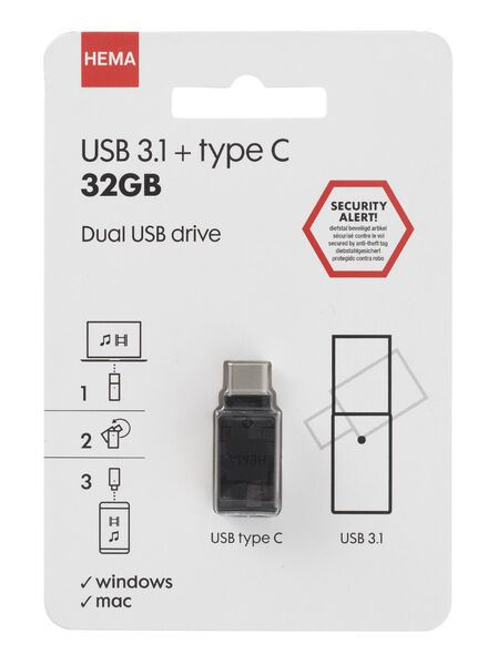 USB stick 3.1 + type C 32 GB - 39520004 - HEMA