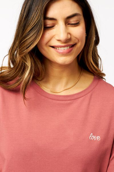 dames t-shirt love roze roze - 1000024063 - HEMA
