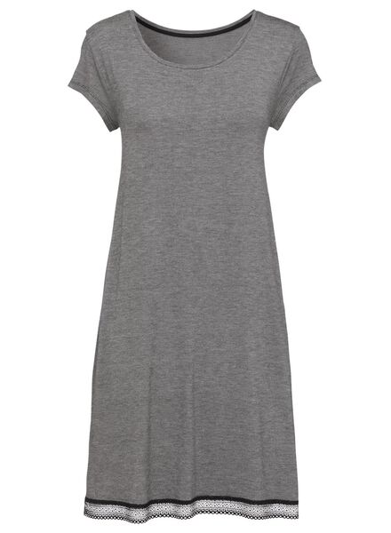 dames nachthemd viscose zwart/wit XL - 23463789 - HEMA