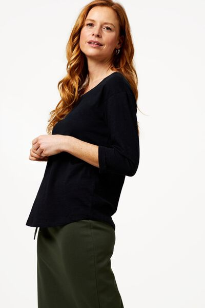 dames t-shirt zwart zwart - 1000023732 - HEMA