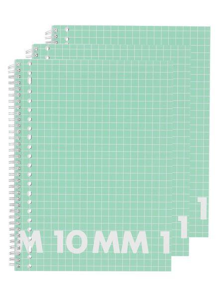 3-pak collegeblokken A4 geruit 10 mm - 14522524 - HEMA