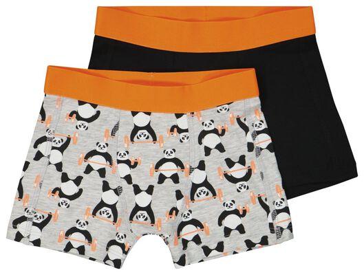 kinderboxers panda - 2 stuks grijsmelange grijsmelange - 1000023778 - HEMA