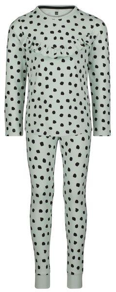 kinderpyjama bamboe/katoen/stretch ruffle lichtblauw lichtblauw - 1000024683 - HEMA