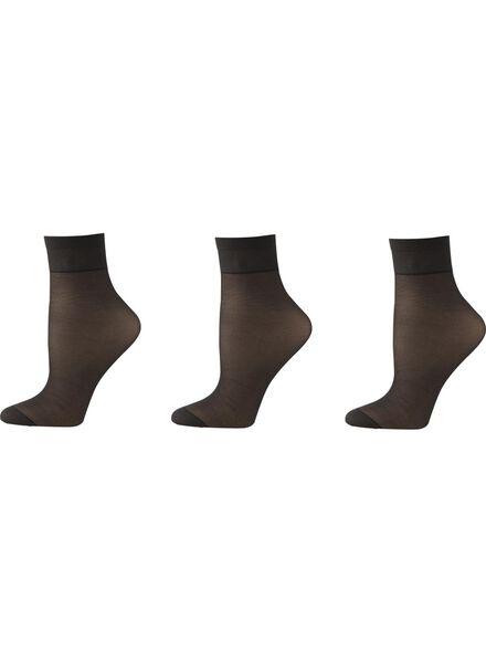 3-pak licht glanzend pantysokken 20 denier zwart one size - 4032206 - HEMA