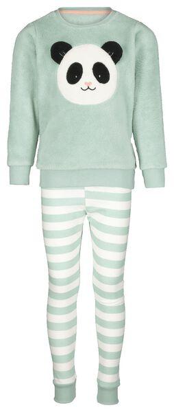 kinderpyjama fleece panda lichtgroen 110/116 - 23010702 - HEMA