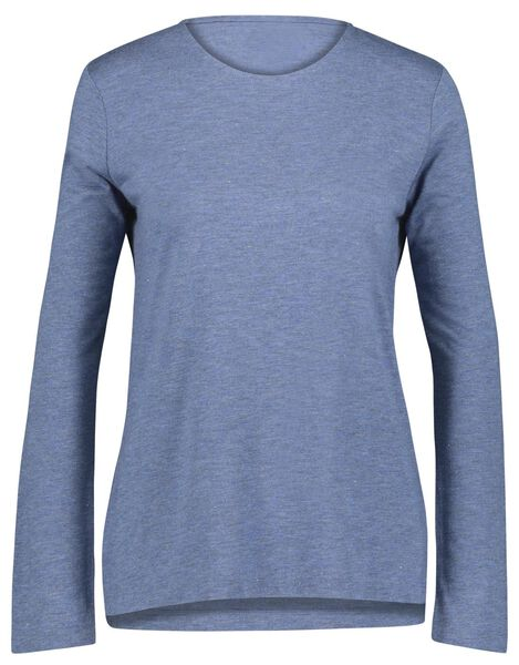 dames t-shirt met glitter blauw - 1000021444 - HEMA