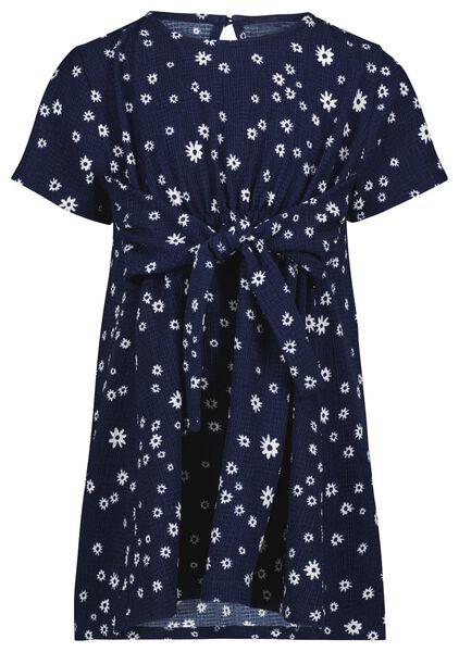 kinderjurk bloem donkerblauw 86/92 - 30867514 - HEMA