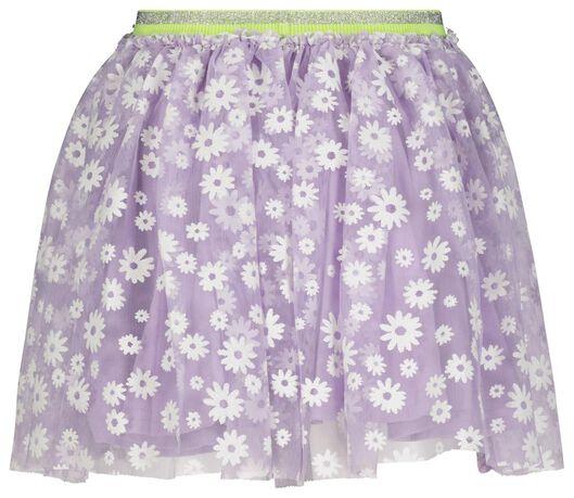 kinderrok met tule bloemen lila lila - 1000023646 - HEMA